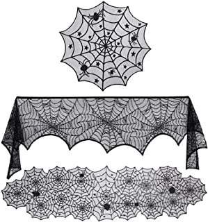 *m·kvfa* Halloween Fireplace Decorations Sets Tablecloth Spooky Bat Spiderweb Lace Fireplace Scarf Cover Table Runner Table Flag 3Pcs/Set