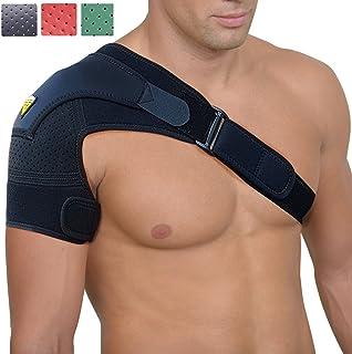 شانه بند زنانه و مردانه توسط FIGHTECH® | پشتیبانی از پاره پاره شده Rotator و سایر آسیب های شانه (سیاه ، بزرگ / X-بزرگ)