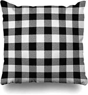 Ahawoso Decorative Throw Pillow Cover Autumn Black White Buffalo Plaid Abstract Kilt Check Lumberjack Bright Cabin Picnic Zippered Design 18