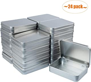 Aybloom Metal Rectangular Empty Hinged Tins - 24 Pack Silver Mini Portable Box Containers Small Storage Kit & Home Organizer
