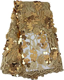 Aisunne African Lace Fabrics 5 Yards Nigerian French Lace Fabric White with 3D Flower Fashion Embroidered Beading and Sequin for Wedding Party Dresses (Gold)