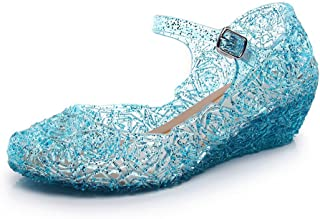Princess Jelly Shoes for Girls, Blue Dress Up Toddler Sandals, Cute Little Kids Mary Jane Shoes Size 11, LED Light Up Glitter Wedge with High Heel for Dance Party Cosplay Closed Toe Buckle