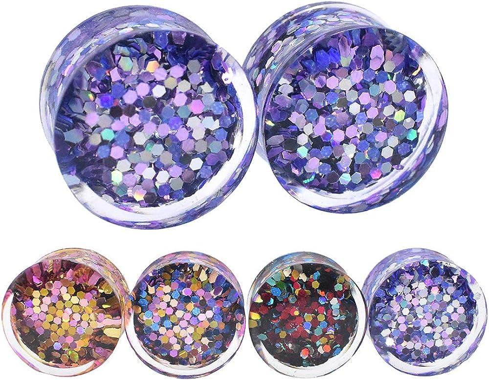Twinkl Paillette Acrylic Ear Tunnels Plugs Piercing Stud Ear Expanders Gagues Body Piercing Jewelry Size 2g(6mm) to 150/127