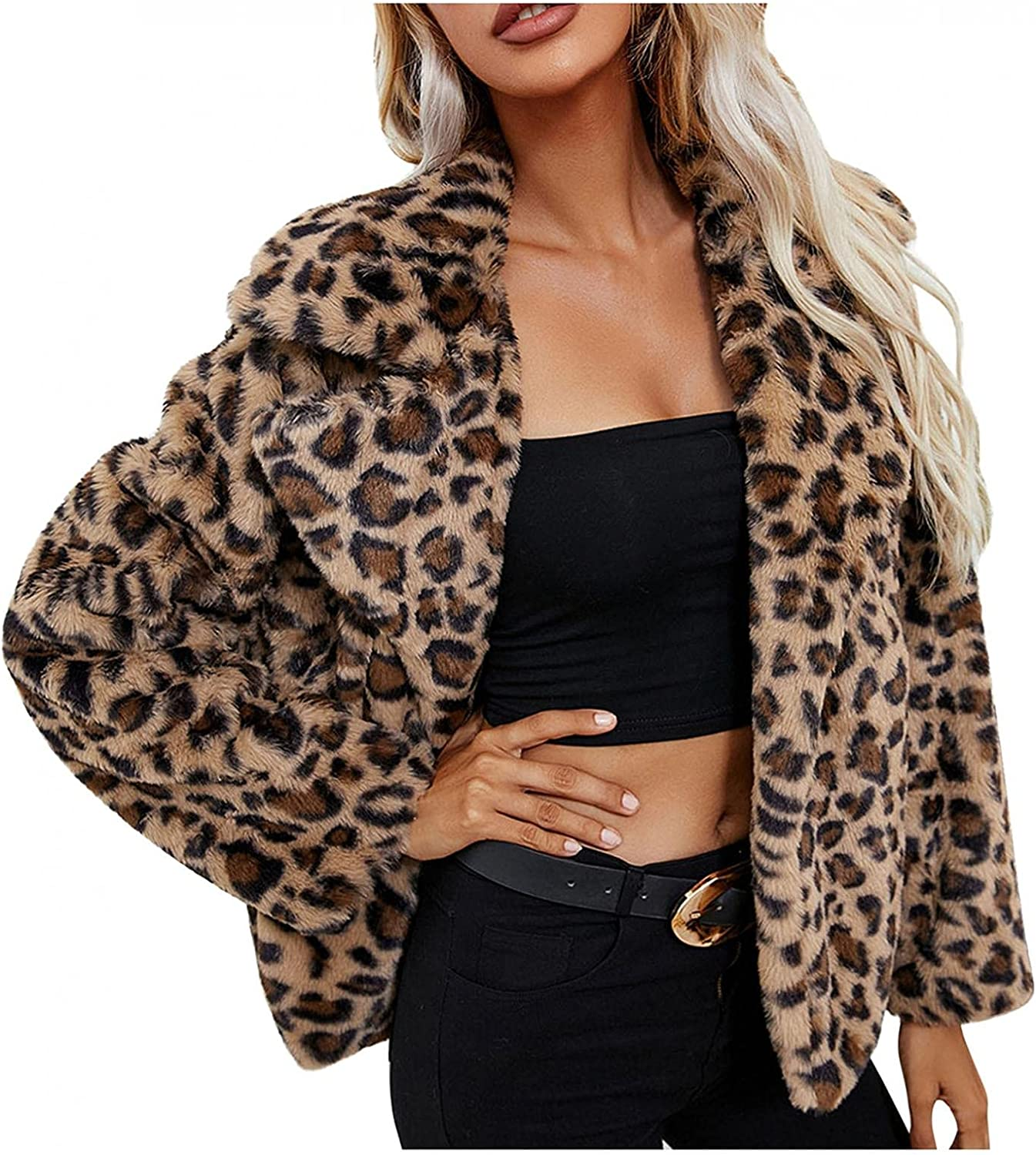 Faux Fur Coat for Womens Winter Warm Fashion Leopard Print Outwear Jacket Cardigan Cropped Lapel Coat for Club Party