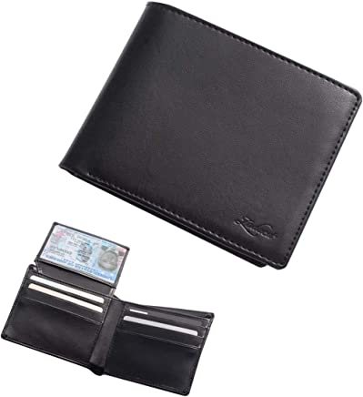 Zodaca Genuine Leather Bifold Wallets for Men w/ID Window, Flip-Up Slim Classic Multi Money & Credit Card Case Holder w/High Capacity, Minimalist & Stylish Gift for Him, Black
