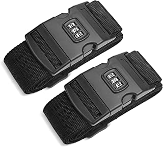 AZFUNN 2 PCS Luggage Straps with 3 Dial Combination Lock, Suitcase Belts Travel Accessories Bag Straps Adjustable Length 45 inch to 69 inch