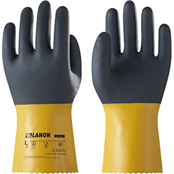 LANON PVC Coated Chemical Resistant Gloves, Reusable Heavy Duty Safety Work Gloves, Acid, Alkali and Oil Protection, Non-Slip, X Large