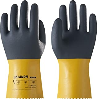 LANON Protection U100 Reusable PVC Oil Resistant Safety Gloves, Heavy Duty Industrial Gloves for Hand Protection, Mechanical/Chemical Resistance, Non-slip, XXL, CE Certified, CAT III