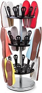 Tatkraft Roll Zapatero Giratorio de 3 Pisos | Organizador de Calzado de 3 Estantes Redondo | Estantería Zapatos de Acero y Plastico | Soporte Zapatos Tipo Carrusel | L31 x Alt,86 x Anch 31 Cm