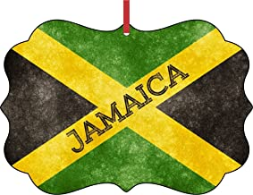 Rosie Parker Inc. Jamaica Grunge Flag-Double-Sided Benelux Shaped Flat Aluminum Christmas Holiday Hanging Tree Ornament with a Red Satin Ribbon. Made in The USA!