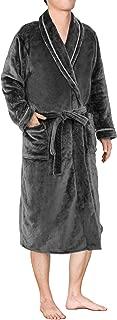 Mens Plush Fleece Robe with Shawl Collar | Soft, Warm, Lightweight Spa Bath Robe