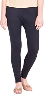 American-Elm Women's Cotton Viscose Ankle Length Legging- Black