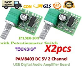 TECNOIOT 2pcs PAM8403 5V 2 Channel Digital Audio Amplifier with Potentionmeter Switch