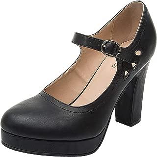 Women's Wide Width Heel Pump - Ankle Buckle Strap Heel Close Toe Stilleto Platform Mary-Jean Shoes.