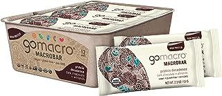 GoMacro MacroBar Organic Vegan Protein Bars, Dark Chocolate + Almonds, 2.3 Ounce Bars (Pack of 12)