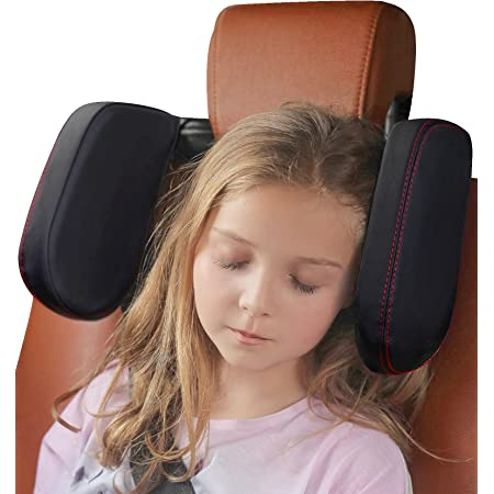 Car Headrest Pillow, Buluby [Extended Edition] Sleeping Head & Neck Support for Rear Seat Passengers -Black