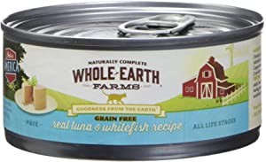 Whole Earth Farms 295248 Grain-Free Tuna & Whitefish Recipe Pate Wet Cat Food, One Size
