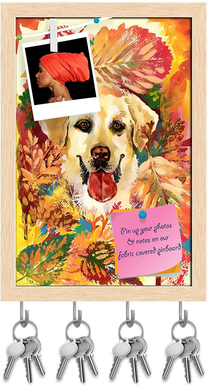 Artzfolio Autumn Dog Key Holder Hooks   Notice Pin Board   Natural Brown Frame 6 X 8.7Inch