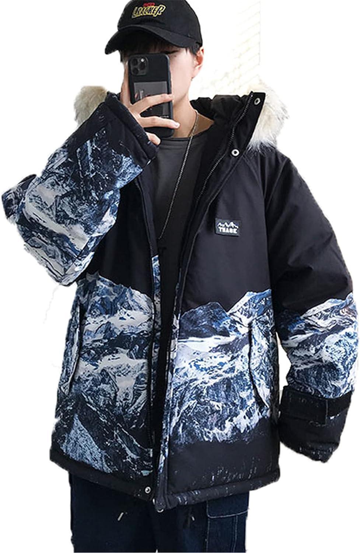Snhpk Mens Parka Coat Jacket Hooded Faux Fur Zip-Up Thicken Warm Puffer Windbreaker Loose Outerwear Overcoat