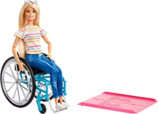 Barbie Fashionistas Doll, Blonde with Rolling Wheelchair and Ramp, for 3 to 8 Year Olds