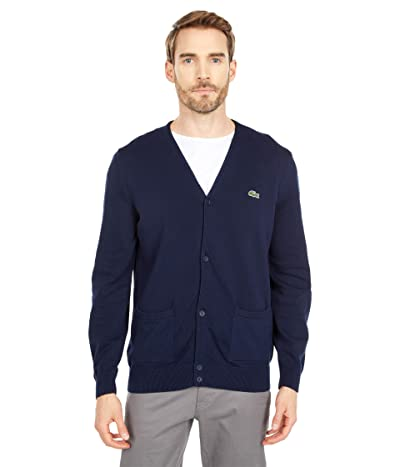 Lacoste Long Sleeve Cardigan with Open Side Pockets (Navy Blue) Men