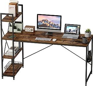 Bestier 63 Inch Computer Desk with Storage Shelves, Modern Bookshelf Desk with Headphone Hook Large Workstation Writing De...