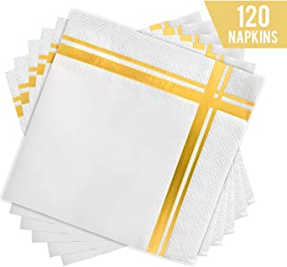 Fanxyware Gold Stripe Cocktail Napkins, 3-ply, 120 Pack, 5