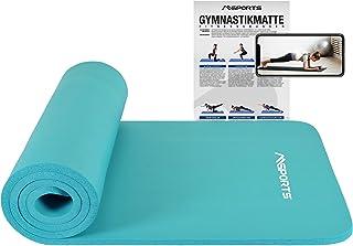 MSPORTS Mata gimnastyczna Studio 183 x 61 x 1,0 lub 1,5 cm | w zestawie plakat z ćwiczeniami i paski do noszenia | przyjaz...