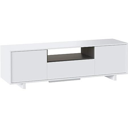 Modulo TV, Mueble de Salon, Juego de Muebles, Modelo Zaira, Acabado en Blanco Brillo y Gris Ceniza, Medidas: 150 cm (Ancho) x 46 cm (Alto) 41 cm (Fondo)