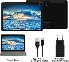 J5 Tablet JUSYEA : Ultra-Portátiles de 10 Pulgadas Android 9.0 Pie Tableta - RAM 4GB | 64GB Expandible (Certificación Google gsm) - Batería de 8000mAh-SIM Dual & WiFi - Cubierta (Negro)