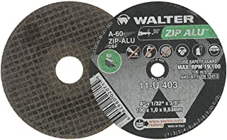 Walter Surface Technologies 11U042 ZIP ALU Fast and Free Cutoff Wheel - [Pack of 25] A-60-ZIP-ALU Grit, 4-1/2 in. Abrasive Wheel for Fast Cutting. Metal Cutting Tools and Accessories