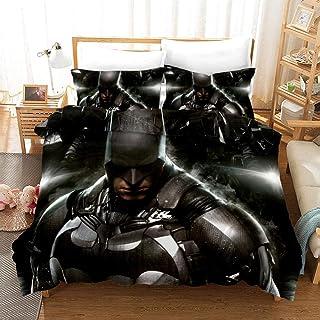 Batman Juego de Funda de Edredón 200 x 200 cm Juego de Ropa de Cama 3 Piezas con Cierre de Cremallera Incluye 1 Funda Nórdica y 2 Funda de Almohada 50x75 cm,Muy Suave