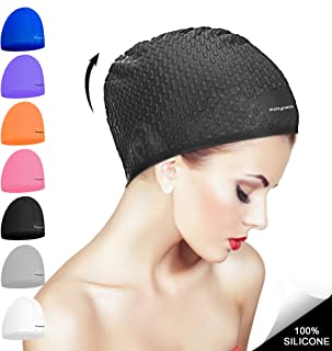 Msicyness Swimming Caps for Men and Women Long Curly Hair Swim Cap Stretchy Swimmer Hat Unisex Adults Size