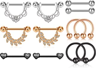 LAURITAMI 8 Pair 14G Stainless Steel Nipple Tongue Rings for Women CZ Nipplering Piercing Set Barbell Chain Body Jewelry Rose Gold/Silver Tone