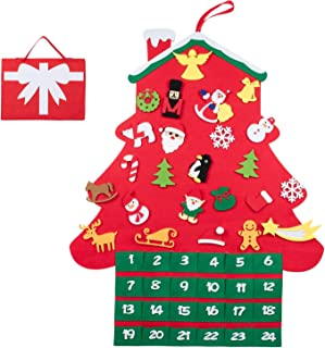 T98 クリスマス 壁掛け 飾り カウントダウン アドベントカレンダー デコレーション 布絵本 フェルトクリスマス ツリー タペストリー クリスマスカレンダー オーナメント 24個入りセット (ホウス)