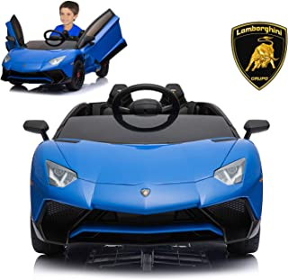 Lamborghini Electric Ride On Car with Remote Control for Kids | 2019 Latest Model Aventador SV Roadster LP750-4 12V Power Battery Official Licensed Kid Car to Drive with Openable Doors Blue