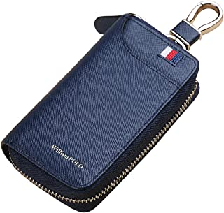 Men Genuine Leather Key Wallet Small Pouch Keychain Organizer Credit Card Holder Cash Mens Purse Zipper Car Case WILLIAMPOLO (Blue with Buckle)
