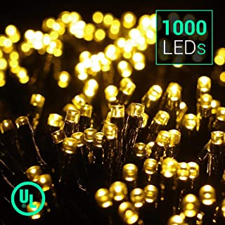 Quntis 83Ft 1000 LEDs String Lights, Waterproof Decorative Lights 8 Modes Twinkle Fairy Lights for Outdoor Garden Halloween Christmas Wedding Party Home Holiday Decoration, UL588 Approved, Warm White