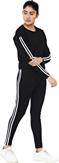 Shocknshop Black Striped Tape Side Crop Fitted Tee & Pants Track Suit Set for Women (WLEG130)