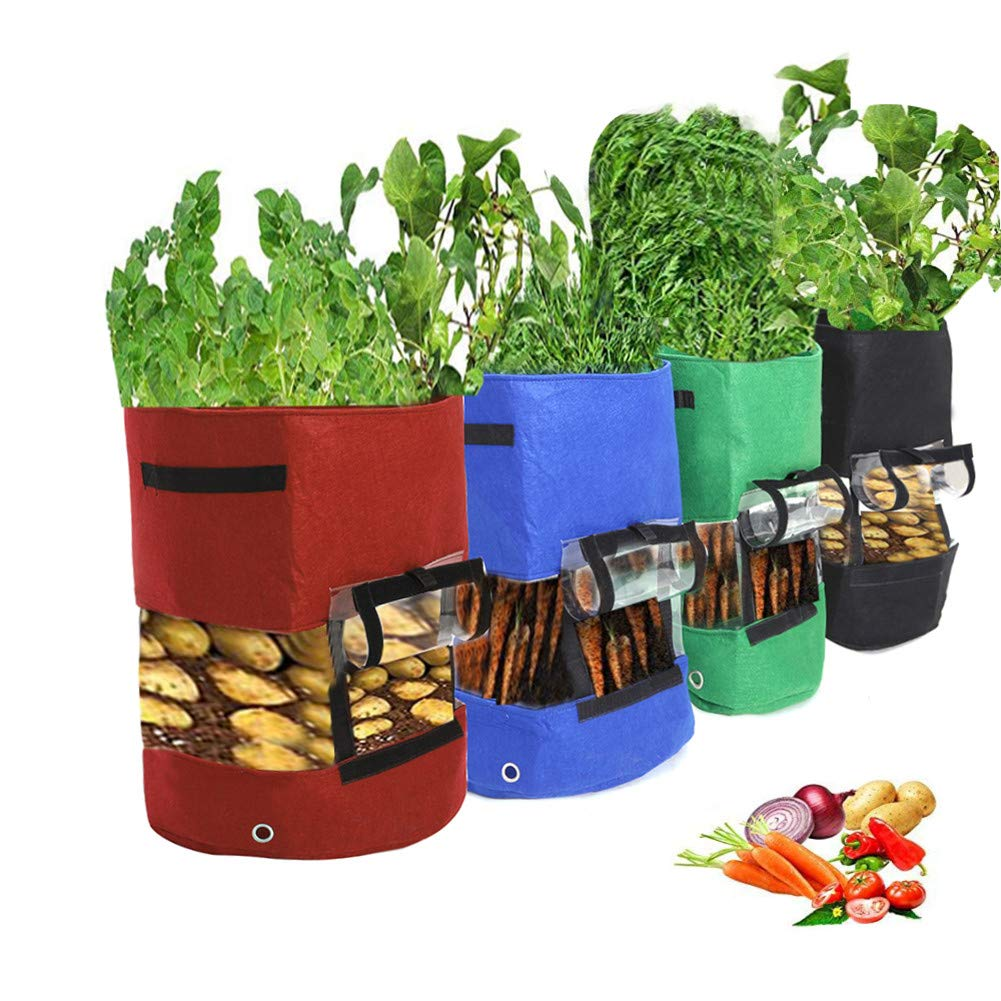 Zedco 1PC Black Plant Grow Bags by Thickened PVC and Nonwoven Fabric for Potato//Plant Pots with Transparent Window