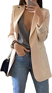 Andongnywell Women's Long Sleeve Slim Suit Jacket Clearance Open Blazer Fit Work Office Cardigan Coat Overcoats