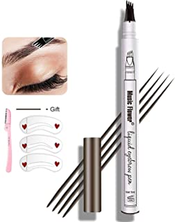 Eyebrow Pen,MoonKong Eyebrow Pencil Waterproof Brow Pen Eyebrow Makeup with a Micro-Fork Tip Applicator Creates Natural Looking and Stays on All Day Eyebrow Kits for Women With 3 Eyebrow Stencil,1 Eeyebrow Razor