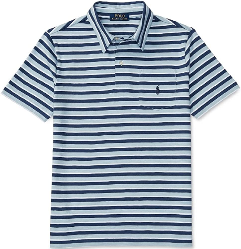 Ralph Lauren Boys Striped Cotton Polo, Naples Blue Multi