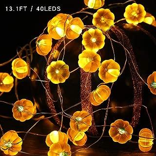 ZALALOVA Halloween Pumpkin String Lights, Halloween Decorations 13ft 40 LEDs 3D Jack-O-Lantern Pumpkin Lights 12-Modes Battery Operated with Remote Timer for Thanksgiving Halloween Christmas Decor