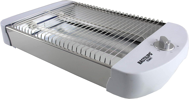 Bastilipo TPB-600 TPB-600-Tostador Plano Horizontal, 600 W, 6 Niveles de Potencia, 2 resistencias, Bandeja recogemigas y Hueco recogecables, Blanco, Aluminio