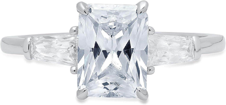 Clara Pucci 2.1 ct Emerald Baguette cut 3 stone Solitaire Accent Stunning Genuine Flawless Natural Aquamarine Gem Designer Modern Statement Ring Solid 18K White Gold