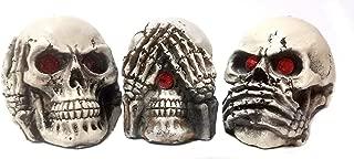 Bellaa 24160 Skull Statue The Hear No See No Speak No Evil 3 Inch
