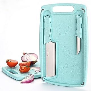 Wanbasion 3 Piezas Tabla de Cortar Cocina Polietileno Grande, Tabla para Cortar Alimentos Plastico Antideslizante, Tabla de Cortar Cocina con Juego de Cuchillos Menta Verde