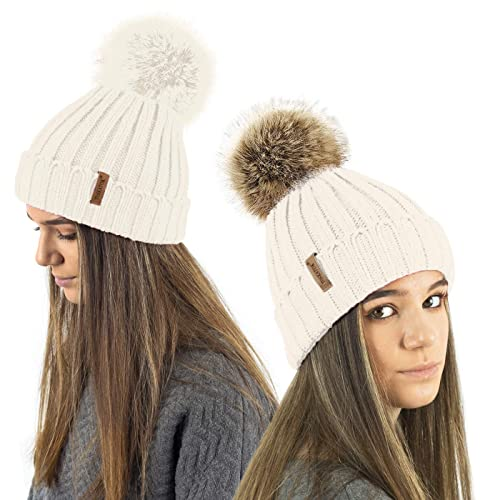 40eae90d890 TOSKATOK® Ladies Girls Chunky 3 in 1 Rib Beanie Hat with 2 Interchangeable  Large Faux