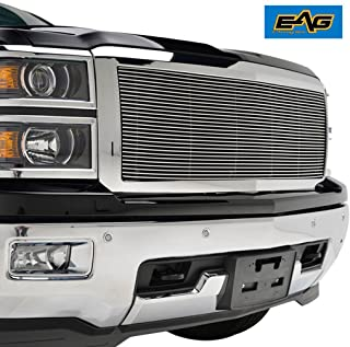 EAG Chrome Billet Grille+Shell Compatible with 14-15 Chevy Silverado 1500